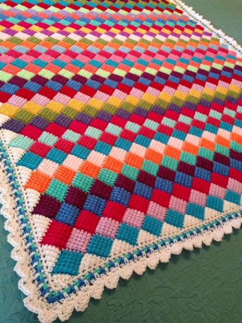 Tunisian Crochet Entrelac Throw - Free Pattern-tunisiancrochetentrelacthrow-jpg