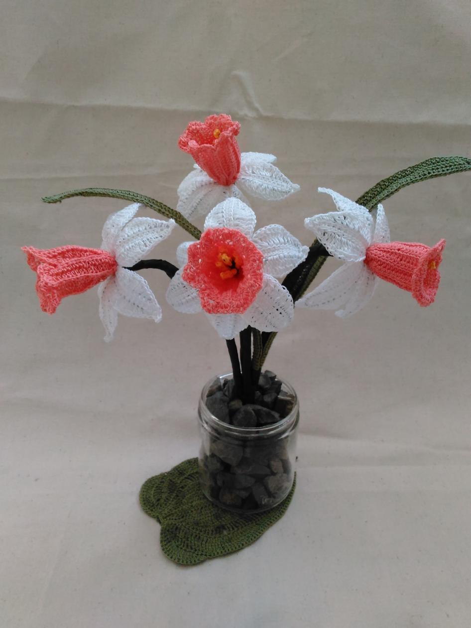 Crochet Daffodils (Pink Species)-img_20170120_164705-jpg