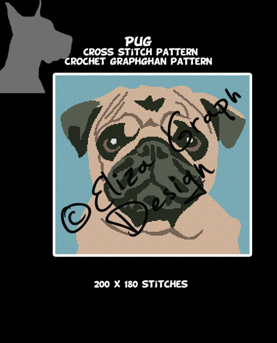 Dog Breeds: Pug CROCHET Graphghan Blanket Pattern-il_570xn-1147036498_mkee-jpg