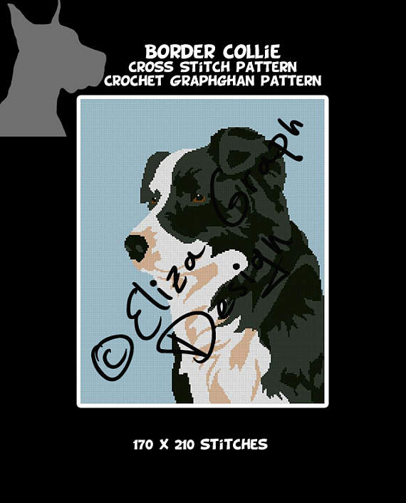 Dog Breeds: Border Collie CROCHET Graphghan Blanket Pattern-il_570xn-1221153723_69w3-jpg