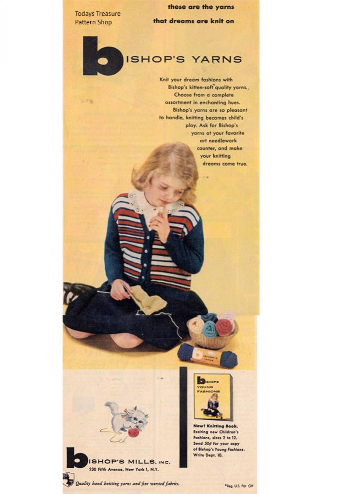 Bishop's Mills Yarns & Patterns-bishop-mills-yarn-1951-advertisement-jpg