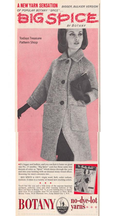 Big Spice Yarn, vintage Big Needle Yarn from Botany / Bear Brand-botany-spice-yarn-1963-advertisement-jpg