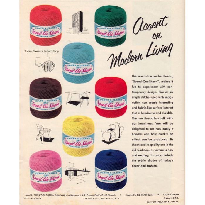 Coats & Clark's Speed-Cro-Sheen-coats-clark-speed-cro-sheen-1953-advertisement-jpg