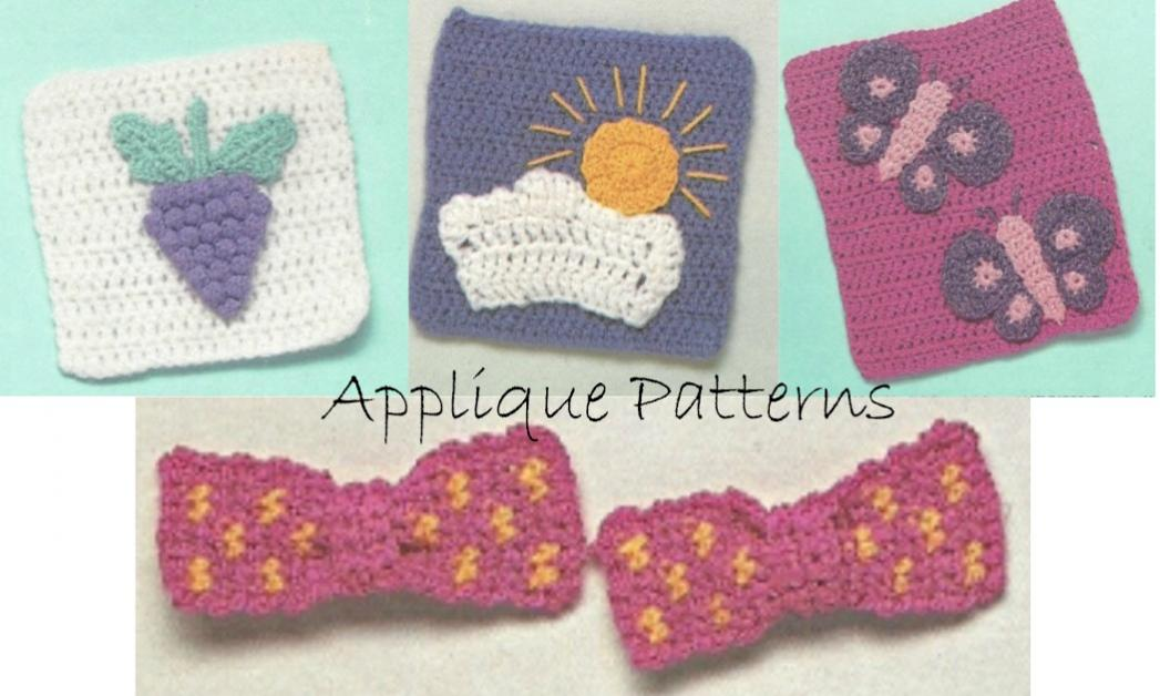 Appliques Granny Square Bowtie, Granny Square Grapes, Sun, and Butterfly-patterns-jpg