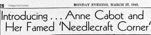 Introducing Anne Cabot - 1941 Newspaper Announcement-introducing-anne-cabot-1941-jpg