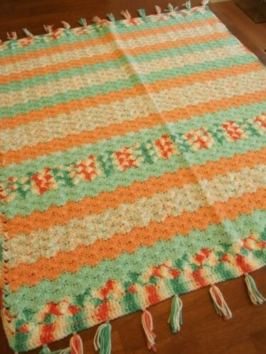 """ORANGE MINT""  Not your usual color combination.  GrannyBlankets.com-orange-handmade-throw-blanket-jpg"