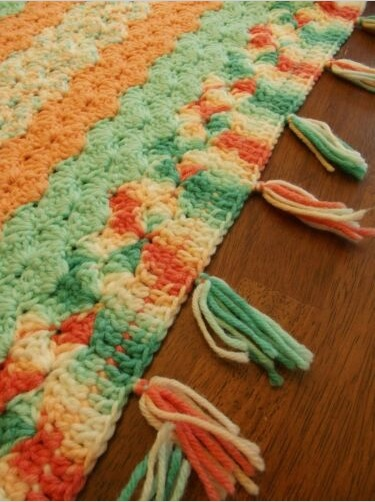"""ORANGE MINT""  Not your usual color combination.  GrannyBlankets.com-orange-handmade-throw-blankets-jpg"