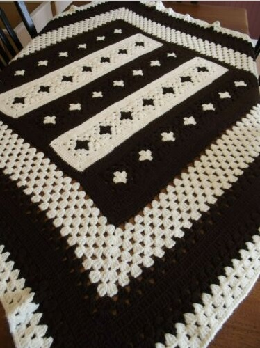 """CHOCOLATE CHIP"" available at GrannyBlankets.com-brown-granny-square-afghan-blanket-jpg"