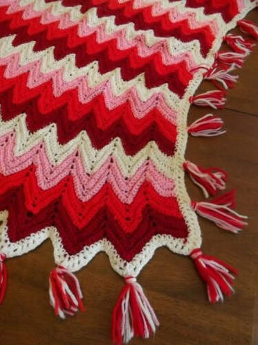"""RED HOT""  Reds, pink, and white.  See details at GrannyBlankets.com-red-afghan-throw-blanket-jpg"
