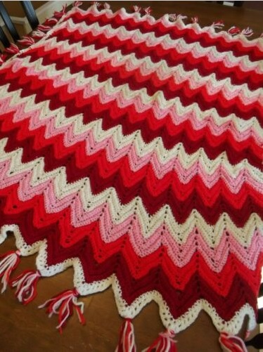 """RED HOT""  Reds, pink, and white.  See details at GrannyBlankets.com-red-afghan-throw-blankets-jpg"