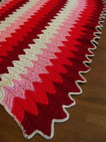 """LIL DEVIL""  Red, pink, and white chevron.  GrannyBlankets.com-lil-devil-afghan-throw-blanket-jpg"
