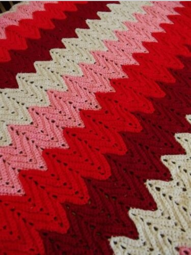 """LIL DEVIL""  Red, pink, and white chevron.  GrannyBlankets.com-lil-devil-afghan-throw-blankets-jpg"