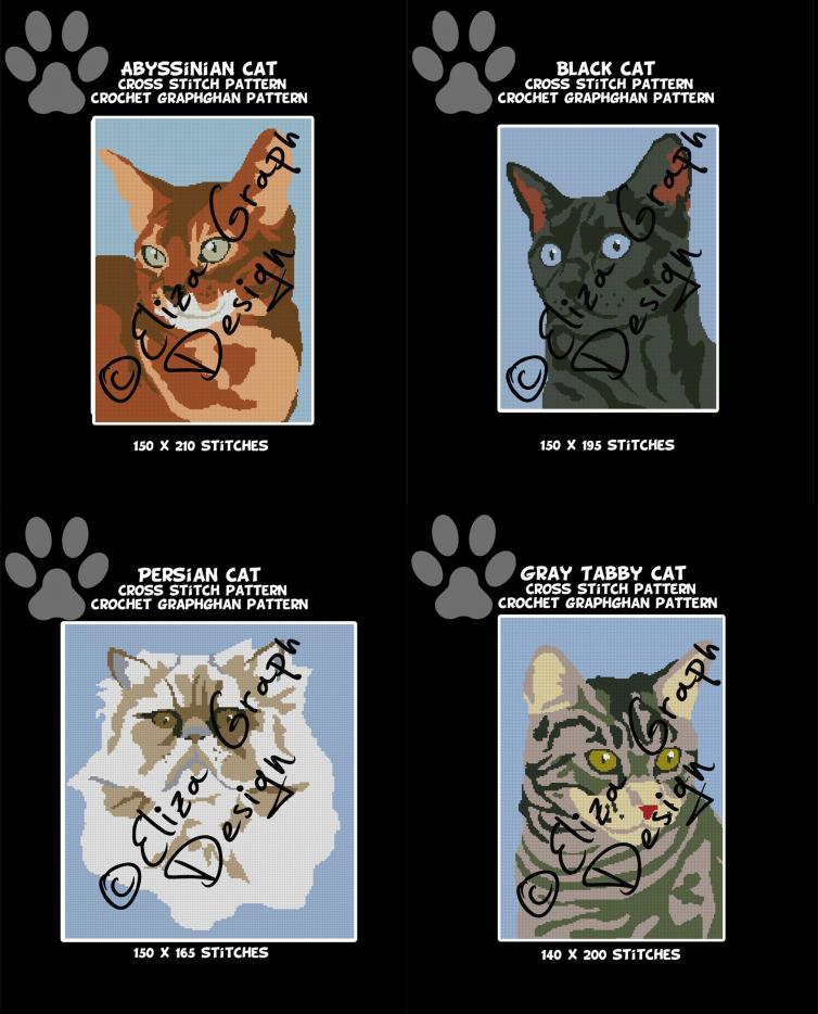 Abyssinian Cat, Black Cat, Persian Cat, Gray Tabby Cat-update-jpg