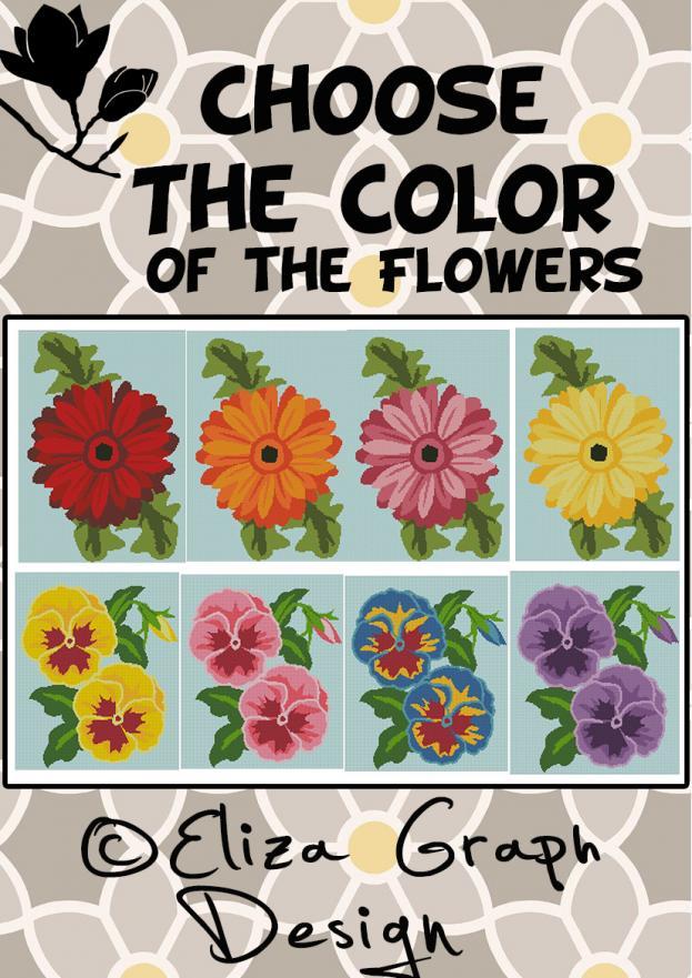 Orchid, Tulip, Peony, Magnolia, Lily, Gerbera, Geranium, Gerbera, Pansy-choose-color-jpg