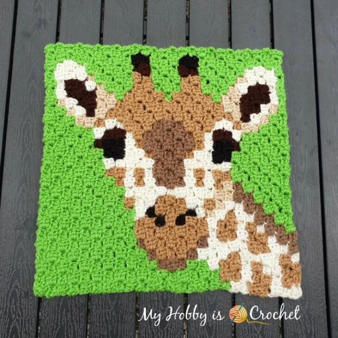 Another Wildlife C2C Square, Giraffe-giraffe-c2c-square-wildife-graphghan-jpg