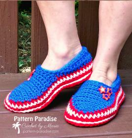 Stars and Stripes Slippers for Women, 4-12, Men, 6-16-star-jpg