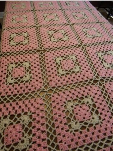 """""""PINK SQUARES""""  A large pink afghan.  GrannyBlankets.com-pink-squares-handmade-afghan-blanket-jpg"""