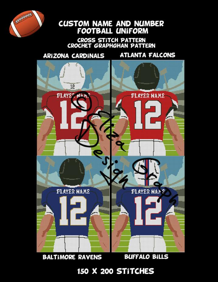 Custom Name and Number American Football Uniform CROSS STITCH Pattern, CROCHET Graphg-pg1-jpg