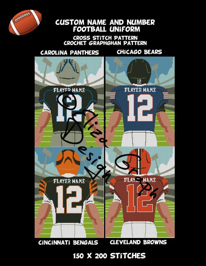 Custom Name and Number American Football Uniform CROSS STITCH Pattern, CROCHET Graphg-pg2-jpg