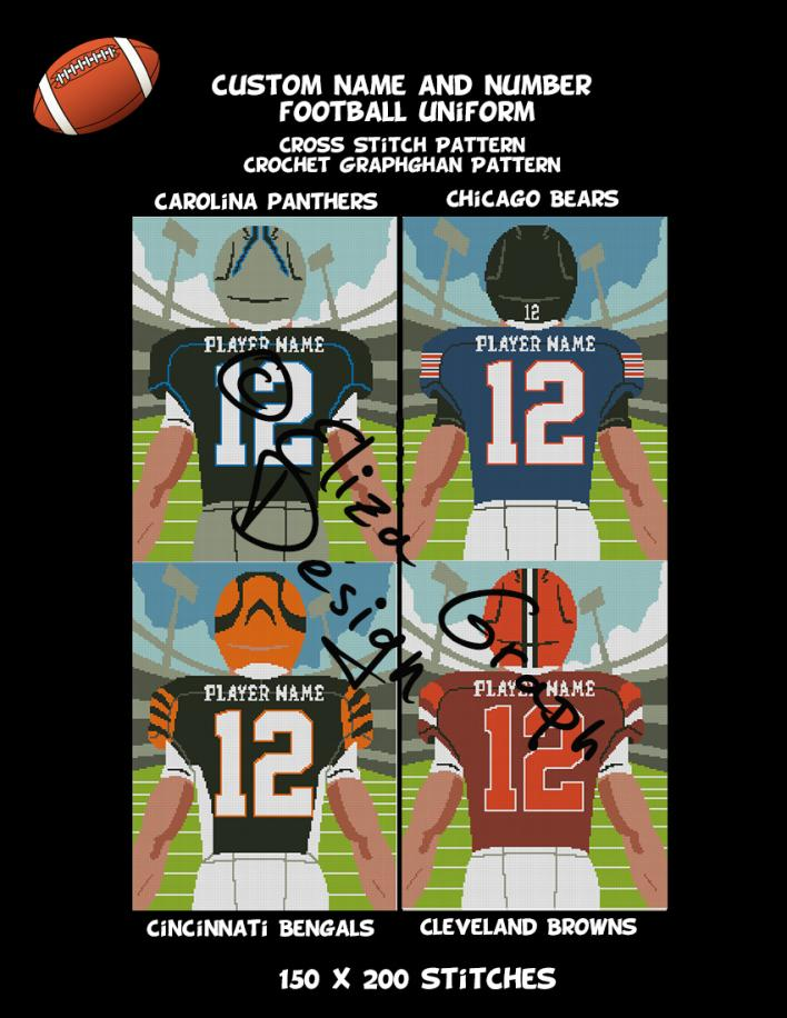 Custom Name and Number American Football Uniform CROSS STITCH Pattern, CROCHET Graphg-pg2-jpg