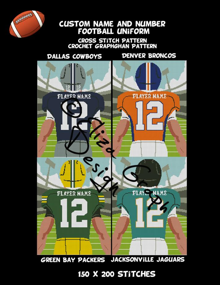 Custom Name and Number American Football Uniform CROSS STITCH Pattern, CROCHET Graphg-pg3-jpg