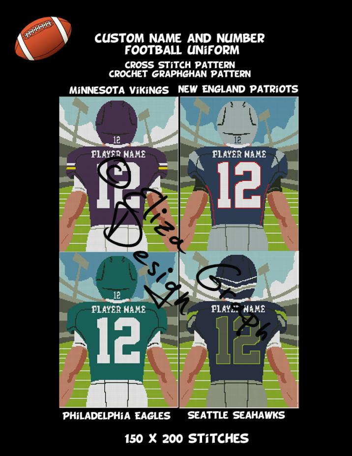 Custom Name and Number American Football Uniform CROSS STITCH Pattern, CROCHET Graphg-pg4-jpg