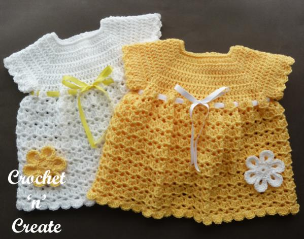 V Shell Baby Dress and Hat, 0-3 mos-dress-jpg
