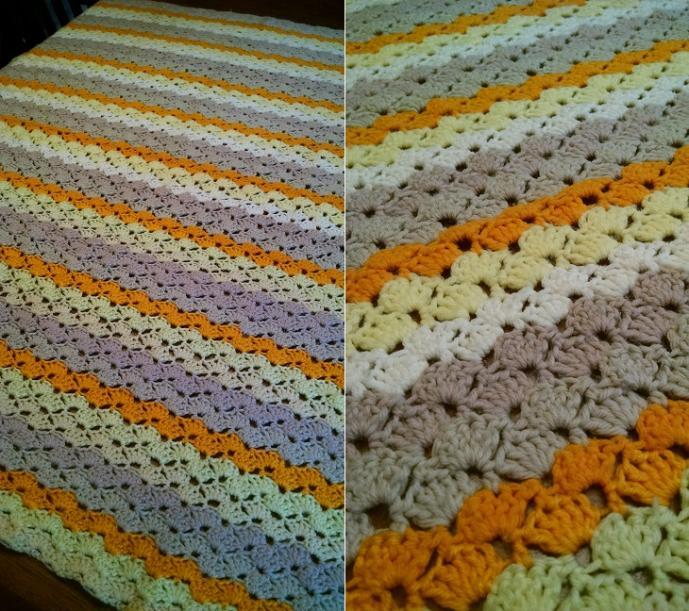 """ORANGE STRIPES""  Get ready for fall.  GrannyBlankets.com-orange-striped-handmade-afghan-blanket-jpg"