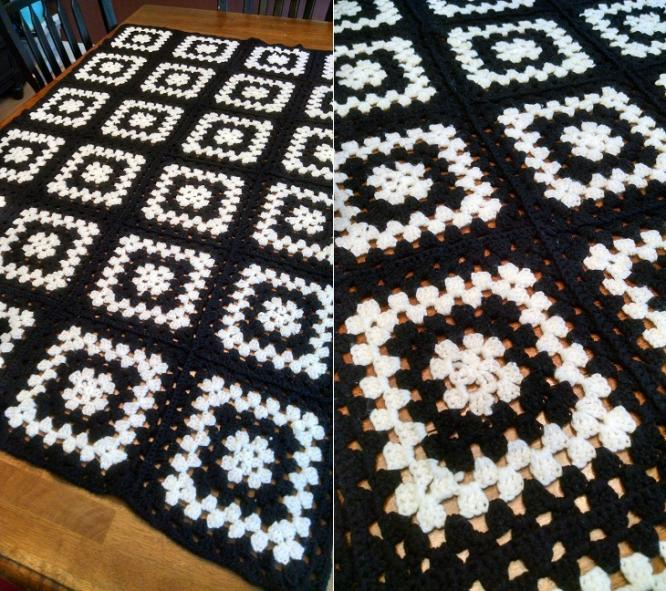 """OREO""  A solid black and white afghan.  GrannyBlankets.com-black-white-afghan-blanket-jpg"