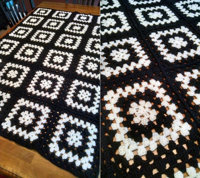 """""""OREO""""  A solid black and white afghan.  GrannyBlankets.com-black-white-afghan-blanket-jpg"""