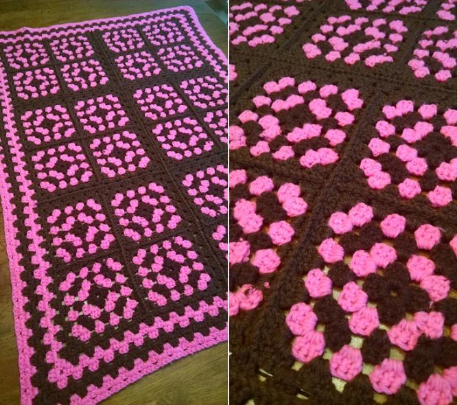 """HOT PINK""  Chocolate brown and hot pink.  www.GrannyBlankets.com-pink-throw-jpg"