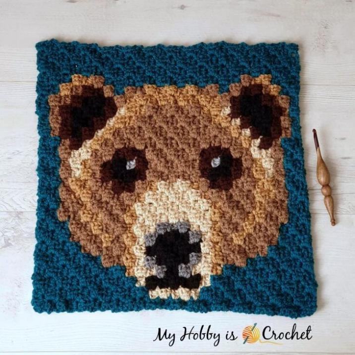 Another Wildlife C2C Square, Brown Bear-brown-bear-c2c-square-jpg