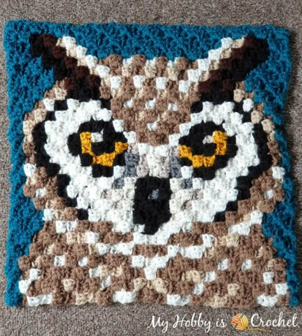 Another Wildlife C2C Square, Horned Owl-owl-jpg
