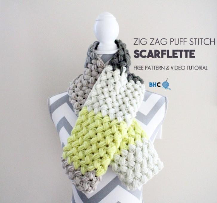 Zig Zag Puff Stitch Scarflette for Women-zig-jpg