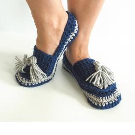"""Tassel Slip On Slippers, length 9"""", Width 4""""-slippers-jpg"""