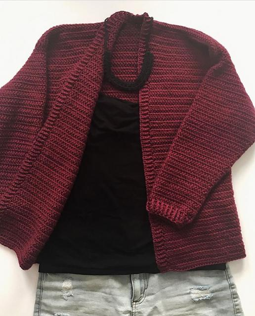 Hibiscus Herringbone Cardigan for Women, S-XL-cardigan3-jpg