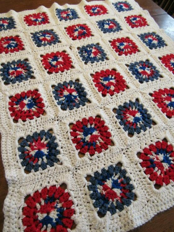 """BABY SQUARES""  A nice little handmade afghan for your baby.  GrannyBlankets.com-baby-throw-afghan-blanket-jpg"
