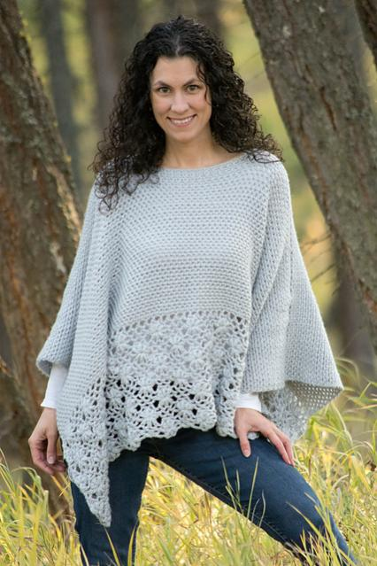 Frosted Petals Poncho for Women, S-5X-poncho1-jpg