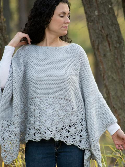 Frosted Petals Poncho for Women, S-5X-poncho3-jpg