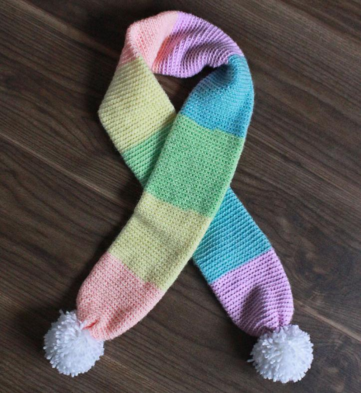 Color Block Rainbow Scarf for Child and Adult-block1-jpg