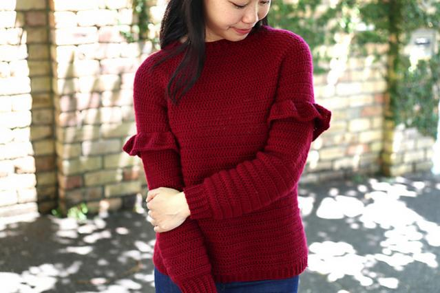 Holly Berry Ruffle Sweater for Women, XS-3XL-sweater1-jpg