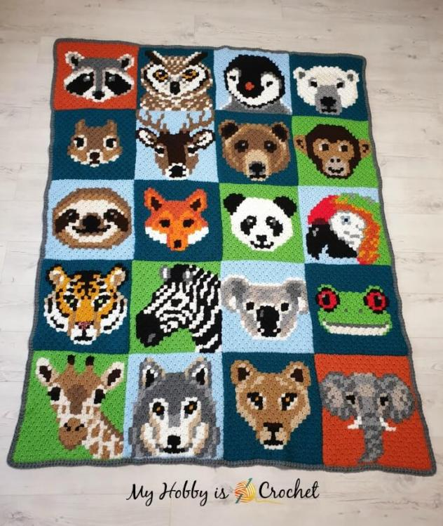 Wildlife C2C Square Blanket-Adding a Border-wild-jpg