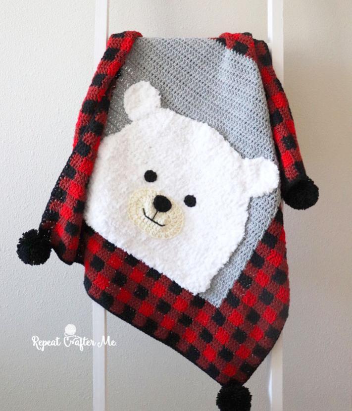 Plaid Polar Bear Blanket-bear1-jpg