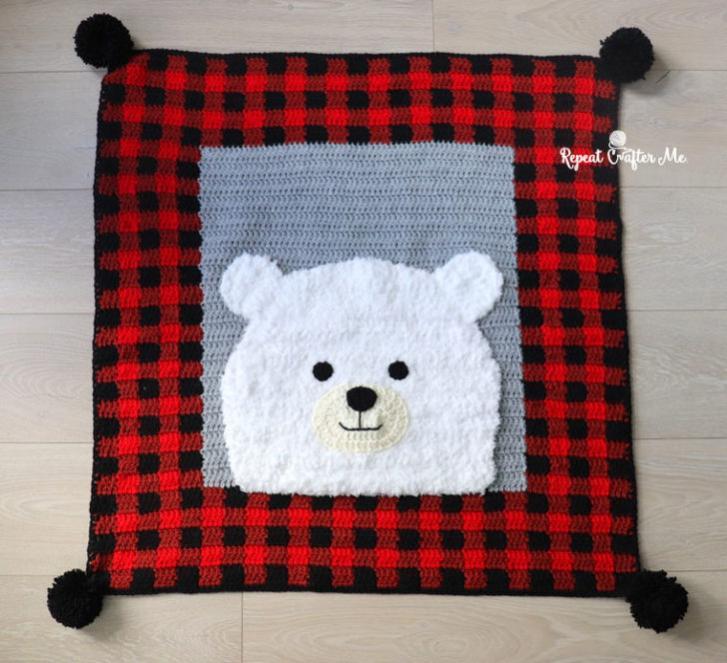 Plaid Polar Bear Blanket-bear2-jpg
