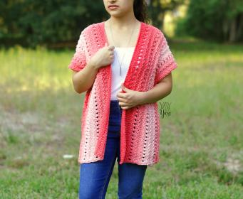 Coral Cardigan for Women, XS-5X-coral1-jpg