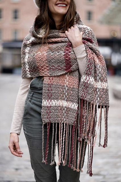 Rosebridge Plaid Blanket Scarf for Women-rose1-jpg