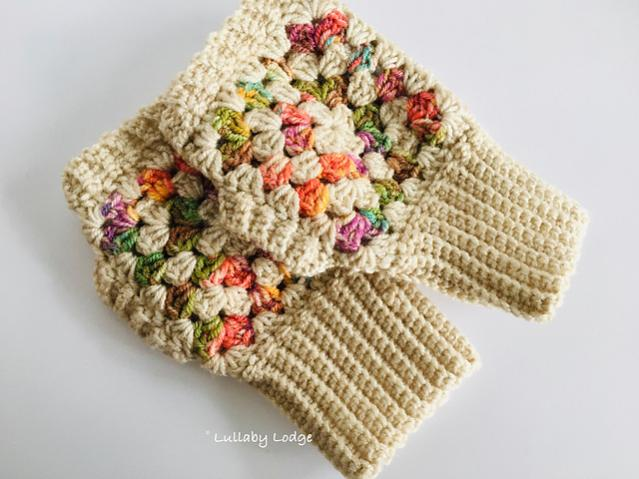 Granny Square Beanie, Boot Cuffs and Fingerless Mitts-beanie3-jpg