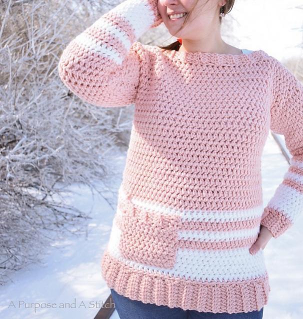 Easy Crochet Pullover for Women, XS-3X-pullover1-jpg
