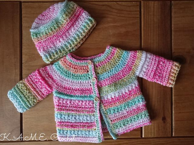 Two Pretty Baby Sets (hat and cardigan) 0-3 mos-c1-jpg