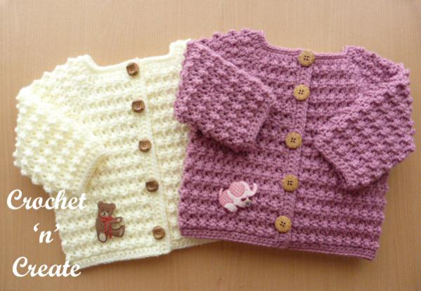 Knobbly Baby Cardi and  Hat , 6-12 mos-b3-jpg